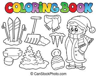 topic, 3, livre coloration, hiver