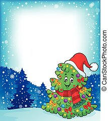 topic, 5, frame, boompje, kerstmis