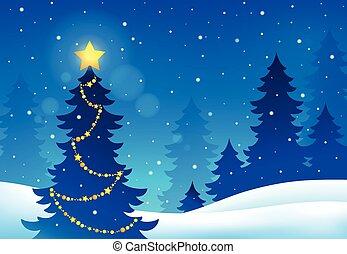topic, 5, silueta, árbol de navidad