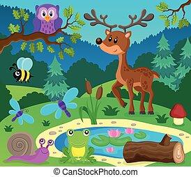 topic, 9, イメージ, 動物, 森林
