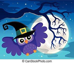 topic, búho, imagen, 1, halloween