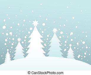 topic, baum 3, silhouette, weihnachten