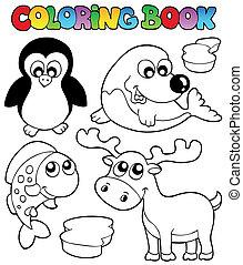 topic, coloração, 2, livro, inverno