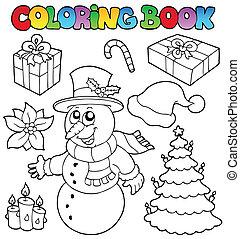 topic, coloration, 2, livre, noël