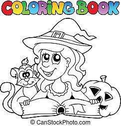 topic, coloration, halloween, livre, 6