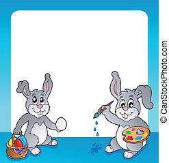 topic, cornice, 2, coniglietto pasqua