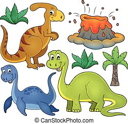 topic, dinosaure, 3, ensemble