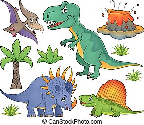 topic, dinosaure, ensemble, 4