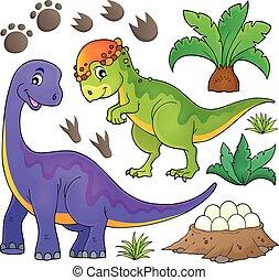 topic, dinosaure, ensemble, 5