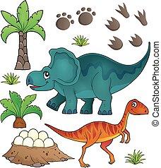 topic, dinosaure, ensemble, 6