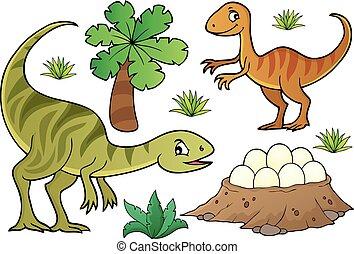 topic, dinosaure, ensemble, 7