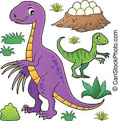 topic, dinosaure, ensemble, 8