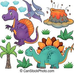 topic, dinosaure, ensemble