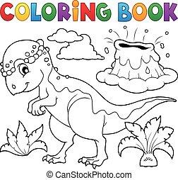 topic, dinosauro, coloritura, 5, libro