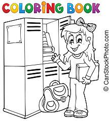 topic, escola, coloração, 5, livro