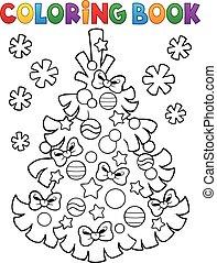 topic, färbung, baum, buch, weihnachten