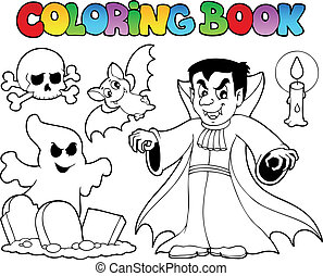 topic, halloween, colorido, 5, libro