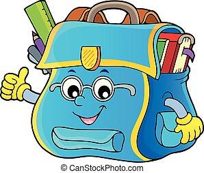 topic, imagem, feliz, 4, schoolbag