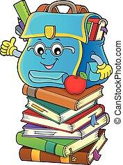 topic, imagem, feliz, 5, schoolbag