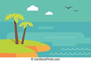Topic Island Banner. Hot Summer Weekend. Vector