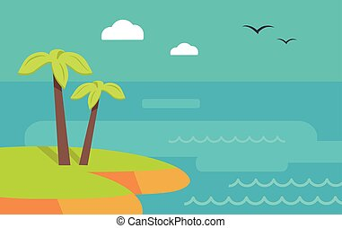 Topic Island Banner. Hot Summer Weekend. Vector