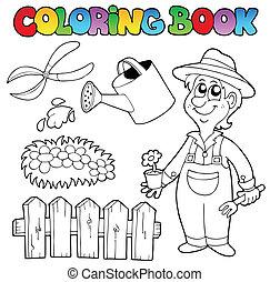 topic, kleurend boek, tuin