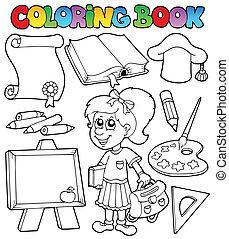 topic, kolorowanie, szkoła, 2, książka