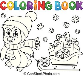 topic, libro, 9, pinguino, coloritura, natale