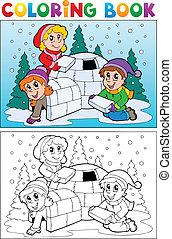 topic, livro, coloração, 4, inverno