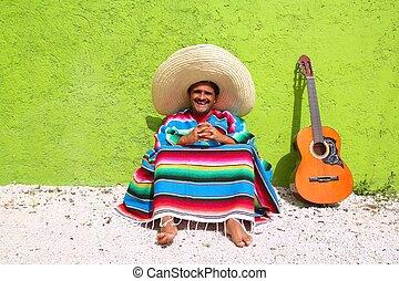 topic, perezoso, mexicano, sentarse, guitarra, hombre, poncho, típico