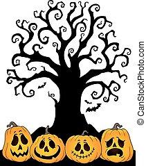 topic, silhouette, halloween, 2, arbre