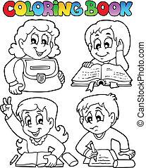 topic, skole, coloring bog, 4