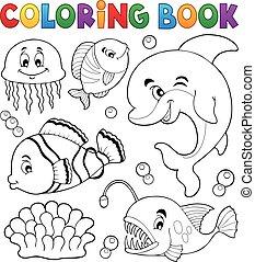 topic, színezés, óceán, 1, könyv, fauna
