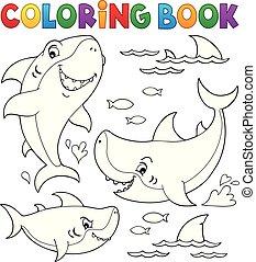 topic, tubarão, coloração, cobrança, 1, livro
