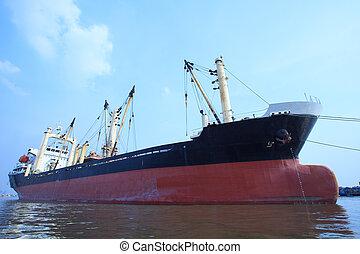 topic, usage, récipient, commercial, flotter, eau, importation, bateau, rivière, port, transport