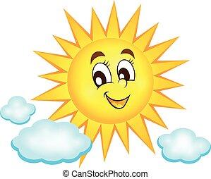 topic, zon, beeld, 1, vrolijke