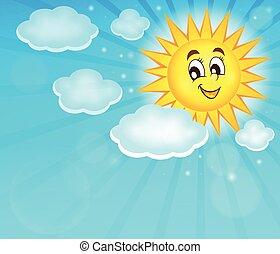 topic, zon, beeld, 2, vrolijke