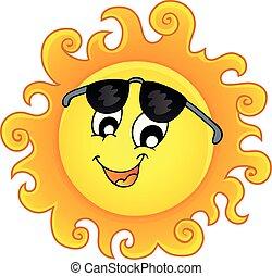 topic, zon, beeld, 3, vrolijke