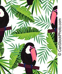 topical seamless pattern with toucans - tropical seamless ...