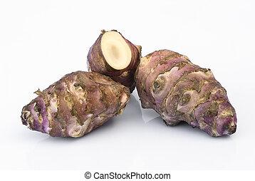 topinambur, raiz, (helianthus, tuberosus)