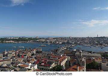Topkapi Palace, Hagia Sophia, Blue Mosque and the Golden Horn, as seen from Galata in Istanbul, Turkey