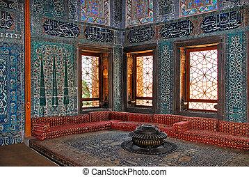 Topkapi palace interior, Istanbul Turkey