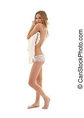 topless, blonde , met, witte , trui