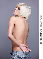 topless blonde with cigarette