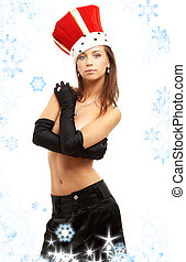 girl in black gloves and red crown with snowflakes