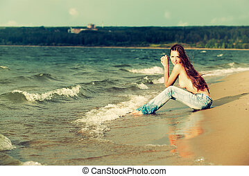 topless girl on beach