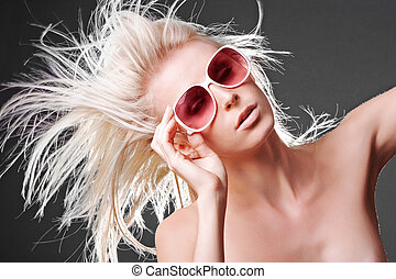 Topless hair blow - Topless woman with hair blowing in wind...