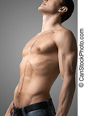 Topless man - Image of handsome man with bare torso posing...