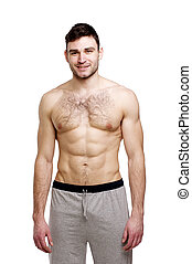 Topless man stood isolated on a white background