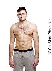 Topless man stood on a white background